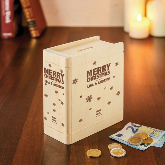 Wooden Money Gift Box with Engraving - Personalised with [Names] of Your Choice - Book-Shaped Coin Bank - Piggy Bank - Christmas Gifts