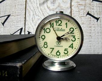 Vintage mechanical alarm clock Slava Soviet times to 1970, Soviet vintage, USSR