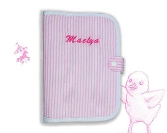 Protects custom pink stripe health book