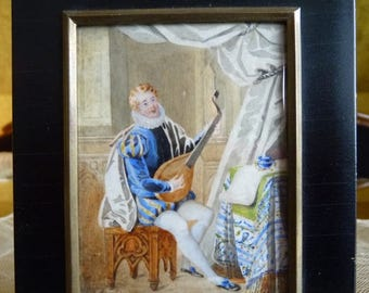 1830 Miniature Painting, Regency Period Painting, antique Painting