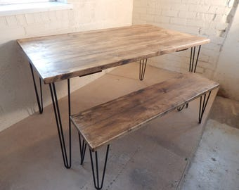 Industrial Rustic Dining Tables Plank Top With Matching Bench Hairpin Legs