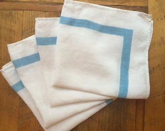 Vintage linen napkins, white with blue border, set of 4