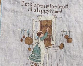 Vintage linen calendar tea towel, Holly Hobbie, 1978