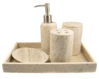 5-PIece handmade light tan travertine bathroom accessory set