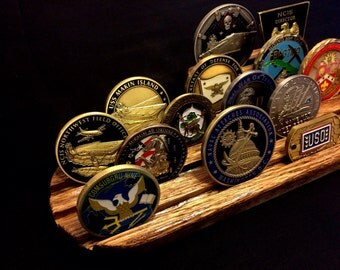 Large Submarine Challenge Coin Display - Beautiful Handcrafted Oak Wood Navy Desktop Challenge Coin Holder - Military Display