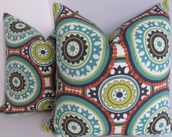 Outdoor/Indoor Pillow Covers - Turquoise Yellow Dark Grey Orange  Pillows- Pillow Covers- Turquoise Pillows- Pillow Covers-  Outdoor Living