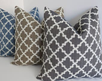 Morrocan Charcoal Natural Pillow- Charcoal Pillows- Pillow Covers- Charcoal Geometric Pillows - Accent Charcoal Pillow