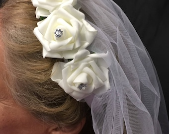 Hen Night Bride to be white flower crown with veil