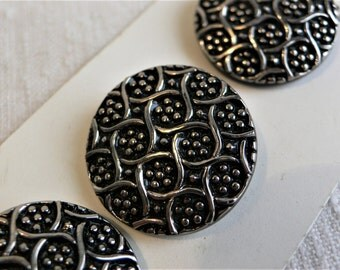 """RESERVED 4 Vintage Glass buttons 1950s Black & SILVER: 1-1/16th"""" (27mm) glass button unused"""