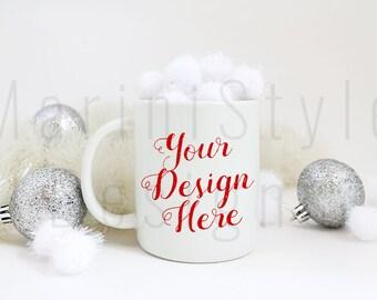 Coffee Mug Mockup, Christmas Styled Stock Photography, Holiday Stock photo, Winter Stock image, White Mug, Product Background Mockup, 253