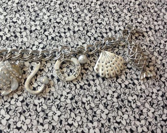 Vintage Charm Bracelet with an Ocean and Fish Theme