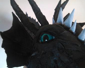 Papermache Dragon Head Sculpture, Black Dragon Head and Neck Trophy