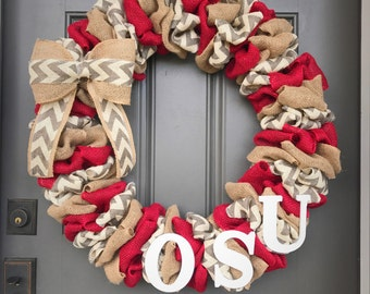 Ohio State wreath, OSU burlap wreath,Ohio State burlap wreath, The Ohio State university wreath, Buckeye wreath, Ohio State decor,OSU wreath