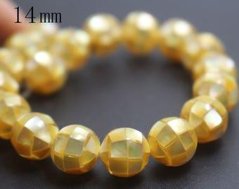 14mm Natural Yellow Abalone Mosaic Round Beads