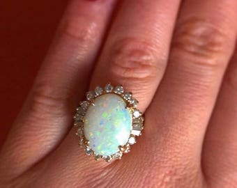 PRICE REDUCED Bargain price don't miss out solid Australian opal diamond ring