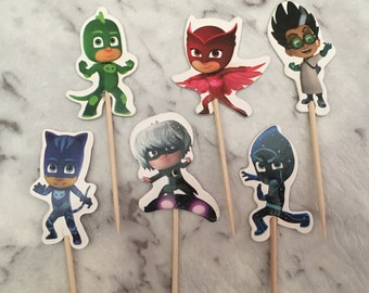 PJ Masks Cupcake Picks Toppers Cake Decorations Kids Novelty Birthday Party Supplies