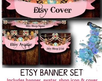 CUSTOM Floral Etsy Banner Set - Customized Wood Bling Banner or DIY - Avatar, Icon, Cover & Banner - DIY Blank Banner
