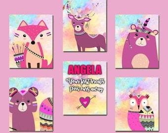 Pink Nursery Art - Pastel Woodland Art Set of 6 - Owl Nursery Art, Name Nursery Art, Customized Nursery Decor, 6 Nursery Prints, Fox Poster