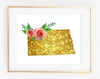 North Dakota art, ND printable, ND gold art, nd floral art, floral gold art, nd sparkle art, nd glitter art, state bling art, flower state