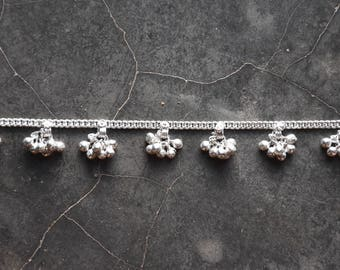 White metal anklet chain chaine de pied indian style radjastan