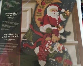 "Vintage RARE new sealed Bucilla Moonlight Santa Christmas stocking kit 18"""