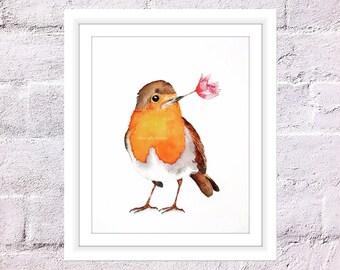 Rosy Robin Print, Watercolor Painting, Robin Bird Art, Bird Illustration, Bird Wall Print, Art for Home, Art for Office, Wall Decor