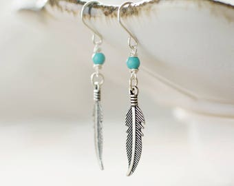 Native American earrings | Turquoise earrings | Feather earrings | Sterling silver charm earrings | Beaded jewelry | Hypoallergenic titanium
