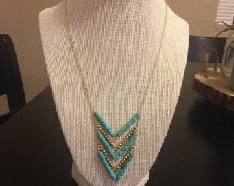 Turquoise howlite chevron necklace/long chevron necklace/long gemstone necklace