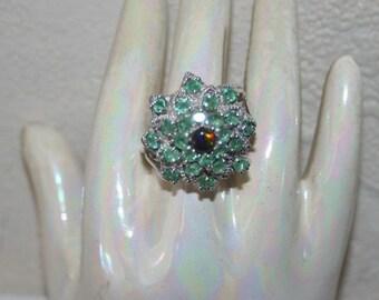 Silver 925 set emeraudes+ Opal ring