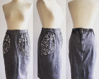 Vintage Grey Acid Wash Denim Embellished Pencil Skirt - UK Size 10/US Size 6