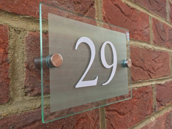 Modern House Numbers glass acrylic house sign door number