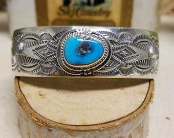 Beautiful sterling silver and turquoise J. Nelson Navajo bracelet