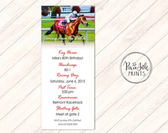 Horse Racing Invitation, Coming down the stretch Invitation, Racing Invitation, Invitation Printable, Racetrack Invitation