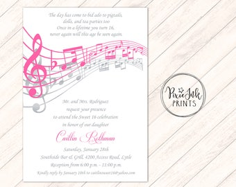 Music Notes Invitation Sweet 16 Party Sheet Note