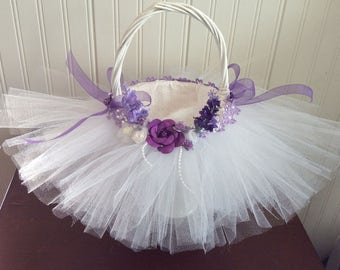 Wedding Flower Girl Tull Basket