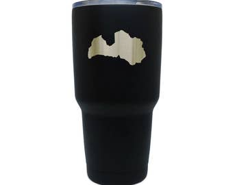 Latvia Black Stainless Steel Tumbler, 30 Oz Insulated Tumbler, Laser Etched In Usa