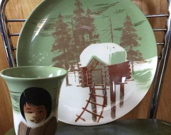 "Matthew Adams handpainted vintage ""Alaska line"" ceramic plate/cup set"