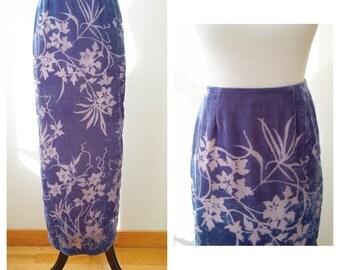 Purple Hawaiin burnout velvet skirt/ vintage express/ tropical vacation attire