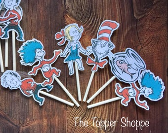 DR SEUSS Cat in the  Hat Cupcake Toppers / Cake Toppers / Die Cuts / Birthday Party / Decorations / Cake Pops / Supplies / Decor