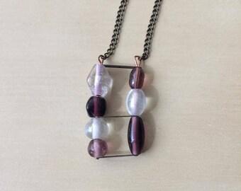 Violet + White Pendant Necklace