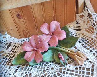 Delicate porcelain flowers 1980s decor
