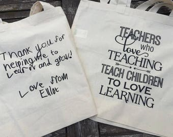 Teacher Tote Bag, end of term gift, teachers thank you, teachers gift, teachers shopper bag, teachers who love teaching, thank you teacher