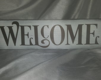 WELCOME hand made painted wood sign