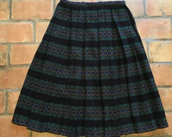 Black, Patterned Wool Skirt