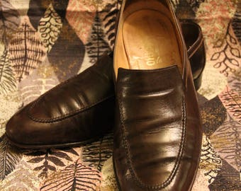 Mens Salvatore Ferragamo Brown Leather Slip On Loafers/Dress Shoes