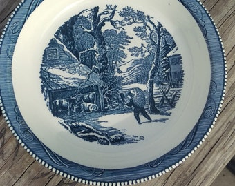 Currier And Ives  10 Inch Blue Ironstone Pie Baking Plate