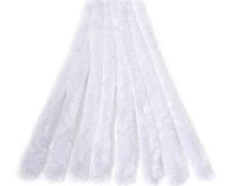 "12, 15mm, Thick White Chenille Stems, Pipe Cleaners, 12"" Long"