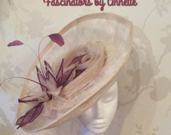 Cream and plum large fascinator