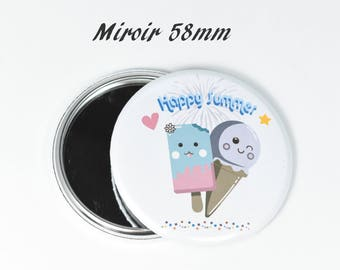 Round mirror ice kawaii happy summer 37 mm