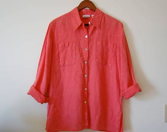 Vintage 100% Linen Buttondown Shirt Blouse - Coral Salmon Pink - Abalone Shell Buttons - Chico's Design